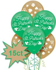 St Patrick's Day Printed Latex Balloons, 15ct