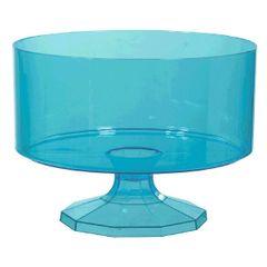 Large Caribbean Blue Plastic Trifle Bowl & Pedestal