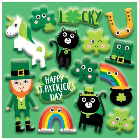 St. Patrick's Day Googly Stickers, 14ct