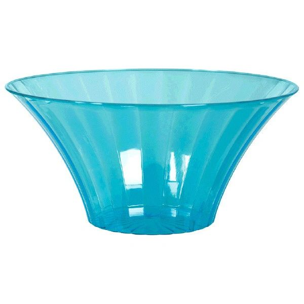 Small Caribbean Blue Plastic Flared Bowl