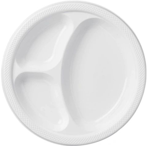 "White Divided Plastic Plates, 10 1/4"" - 20ct"