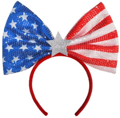 Patriotic Light Up Glitter Jumbo Bow Headband