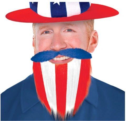 Patriotic Beard - Red, White, Blue