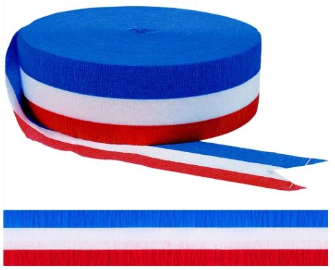 Red, White & Blue Jumbo Crepe Streamer, 500ft