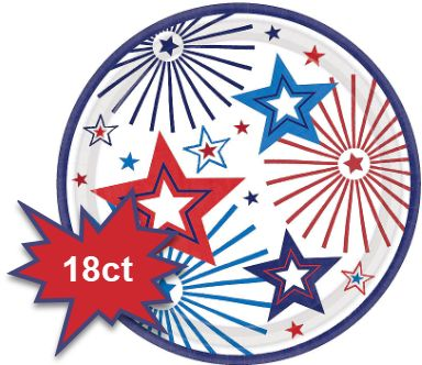 "Happy Fourth Round Dessert Plates, 7"" - 18ct"