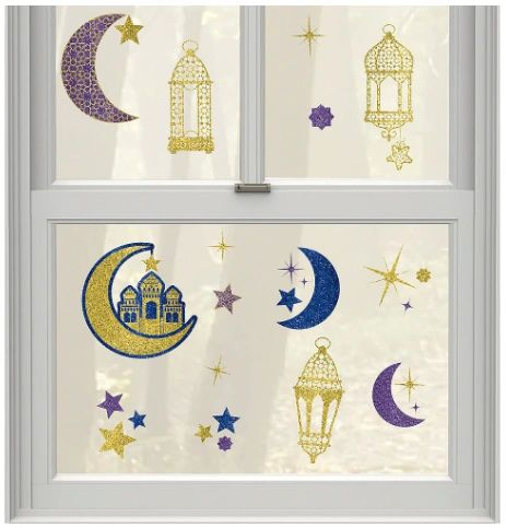 Eid Celebration Glitter Window Decoration, 15ct