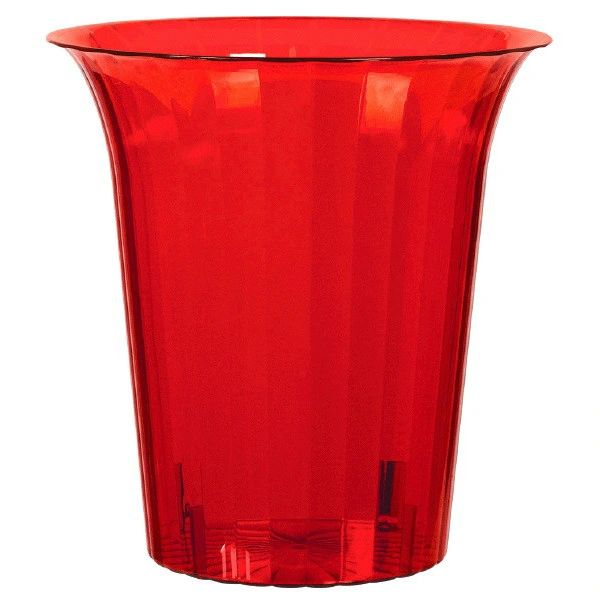 Red Plastic Flared Cylinder Container