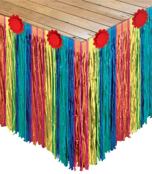 Fiesta Striped Paper Table Skirt, 10ft