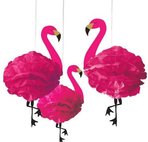 Flamingo Fluffy Decorations, 3ct