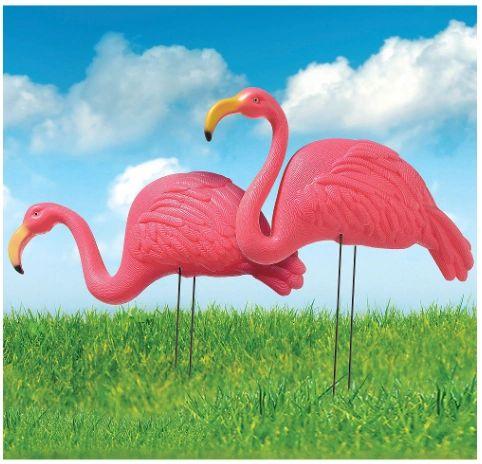 Flamingo Plastic Yard Stakes, 2ct