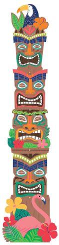 "Tropical Jungle Tiki Totem Pole Jointed Cutout, 81"""