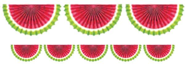 Watermelon Paper Fan Bunting Garland