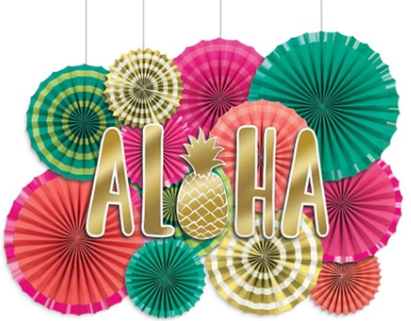 Aloha Deluxe Paper Fan Decorating Kit, 17pc