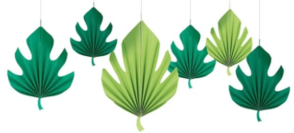 Palm Leaf Shaped Fan Decorations, 6ct