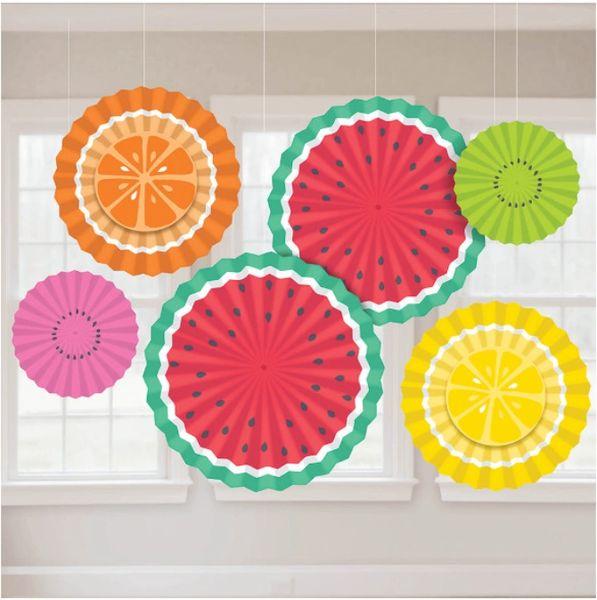 Tutti Frutti Paper Fan Decorations, 6ct