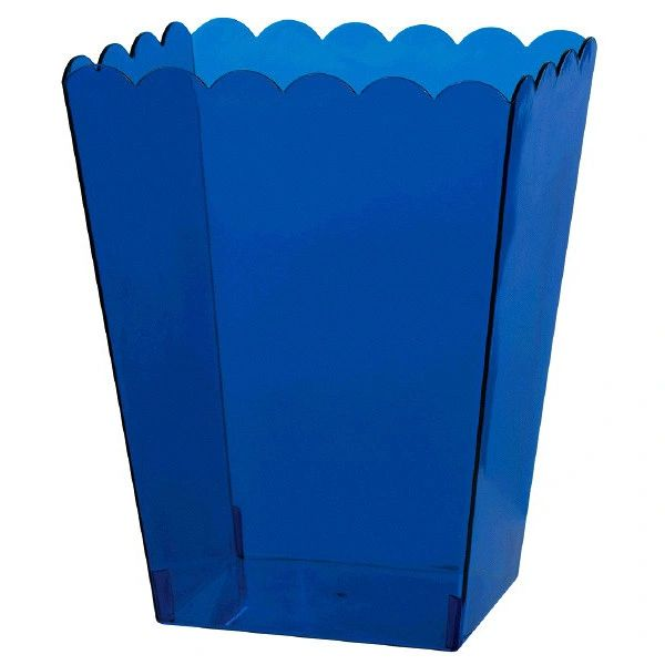 Large Bright Royal Blue Plastic Scalloped Container