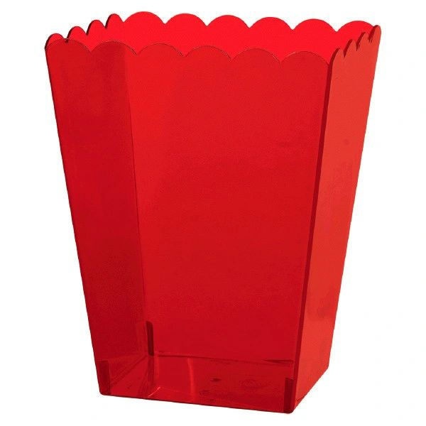 Large Red Plastic Scalloped Container