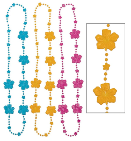 Hibiscus Bead 3-Pack Necklace, 3ct