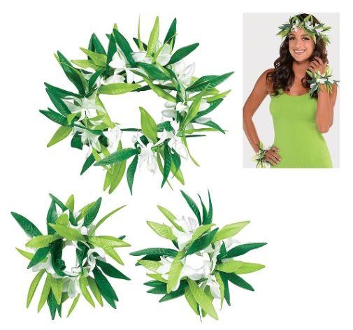 Green Leaf w/ Flower Head Wreath & Wrislets Set, 3pc
