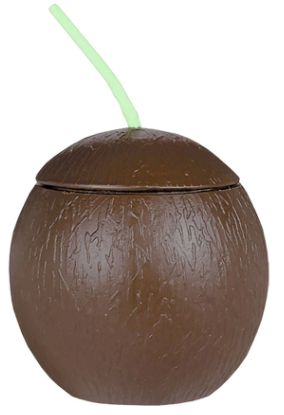 Plastic Coconut Sippy Cup with Straw, 18oz