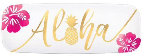 "Aloha Plastic Long Platter, 17 1/2"""