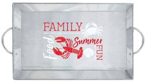 """Seafood & Summer Serving Tray with Handles, 12"""""""