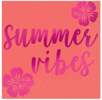Summer Vibes Beverage Napkins - Hot-Stamped, 16ct