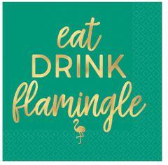 Aloha Flamingo Beverage Napkins, Hot-Stamped, 16ct