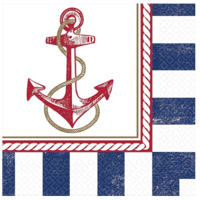 Anchors Aweigh Luncheon Napkin, 16ct