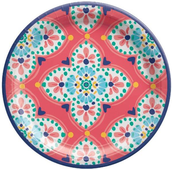 "Boho Vibes Round Dessert Plates, 7"" - 8ct"