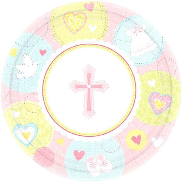 "Pink Sweet Religious Dessert Plates, 7"" - 8ct"