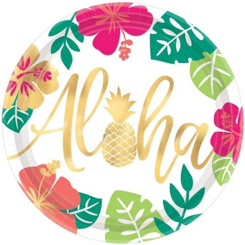 "Aloha Metallic Round Dinner Plates, 10 1/2"" - 8ct"