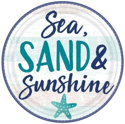 "Sea, Sand, Sun Round Plates, 10 1/2"" - 8ct"