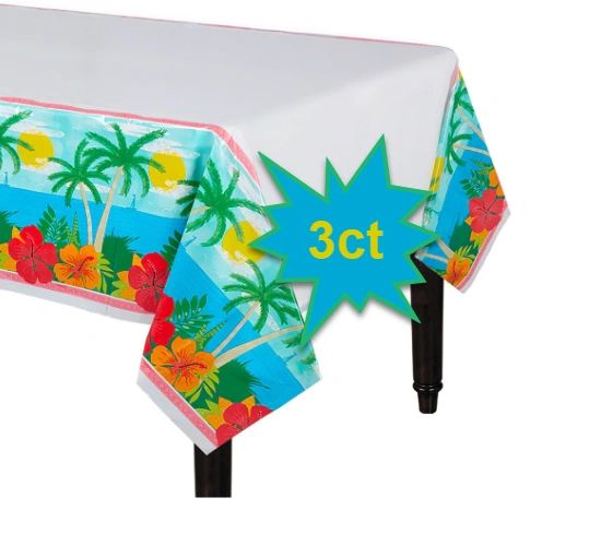 Summer Vibes Plastic Table Covers, 3ct