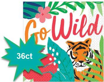 Tropical Jungle Beverage Napkins - Go Wild, 36ct