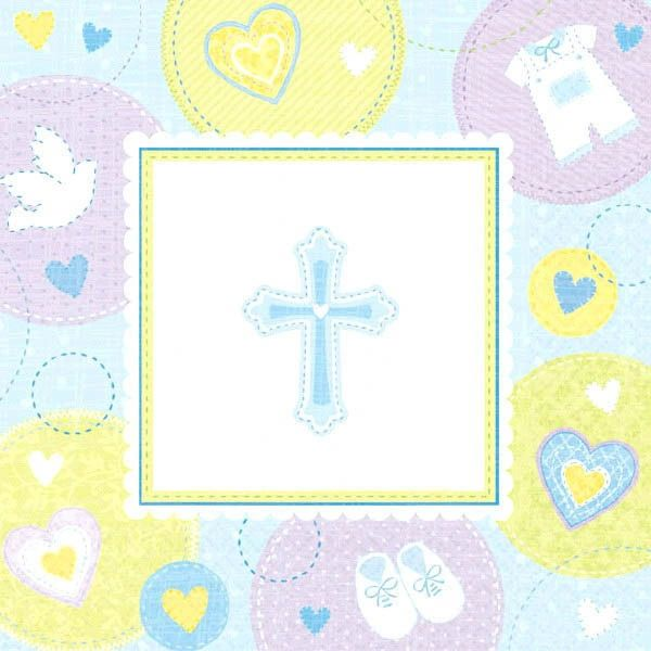 Blue Sweet Religious Beverage Napkins, 16ct