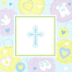 Blue Sweet Religious Lunch Napkins, 16ct