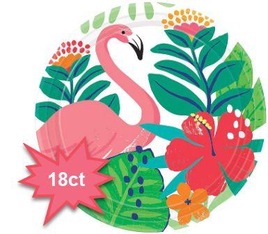 "Tropical Jungle Round Dessert Plates, 7"" - 18ct"