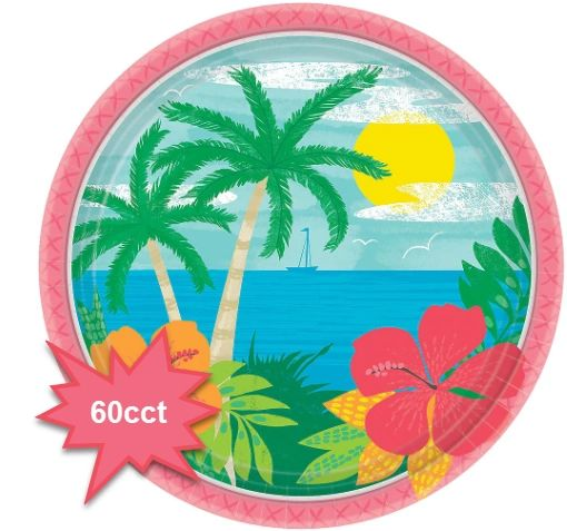 """Summer Vibes Round Lunch Plates, 9"""" - 60ct"""