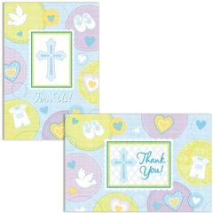 Blue Sweet Religious Invitations & Thank You Notes for 8