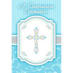 Blue Communion Invitations, 8ct