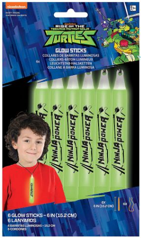Rise of the TMNT™ Printed Glow Lanyards, 6ct