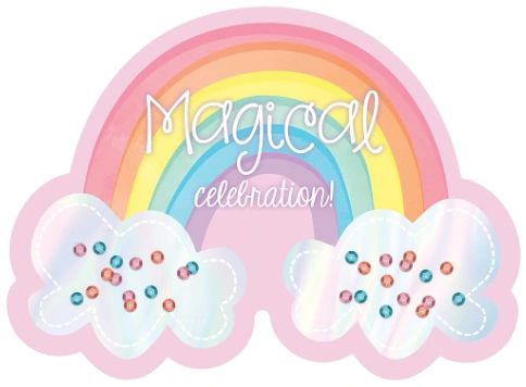 Magical Rainbow Birthday Large Novelty Invitations, 8ct