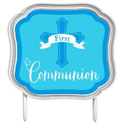 Blue First Communion Cake Topper