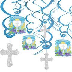 Blue Communion Swirl Decorations, 12ct