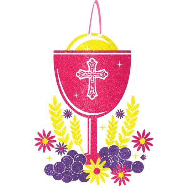 Glitter Pink Chalice Communion Sign