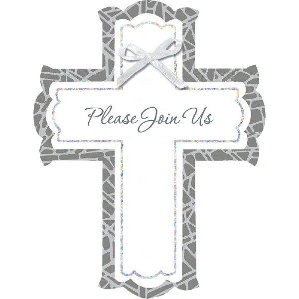 White Stained Glass Religious Invitations, 8ct
