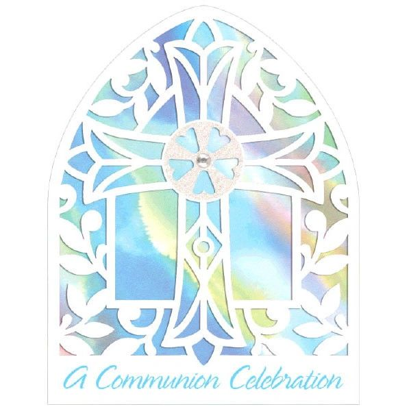 Novelty Blue Communion Invitations, 8ct