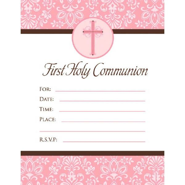 Pink First Communion Invitations, 20ct