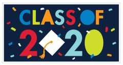 """2020"" Navy Class of 2020 Giant Letter Banner, 65"""